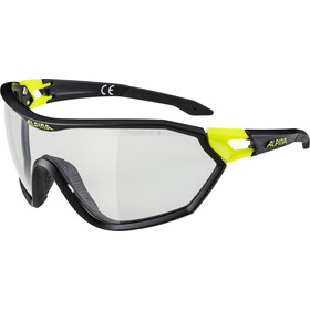 Alpina S-Way VL+ Okulary rowerowe, black matt-neon yellow